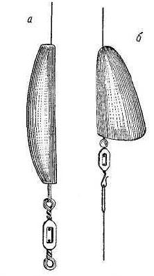 Рис. 42. Грузило Фрэнсиса (а), грузило Пэнэля (б).