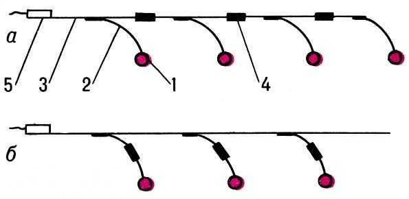 Рис. 2. Схемы установки замедлителей (КЗДШ-69) во взрывную сеть: a - установка в разрыв магистрали; б - установка в...