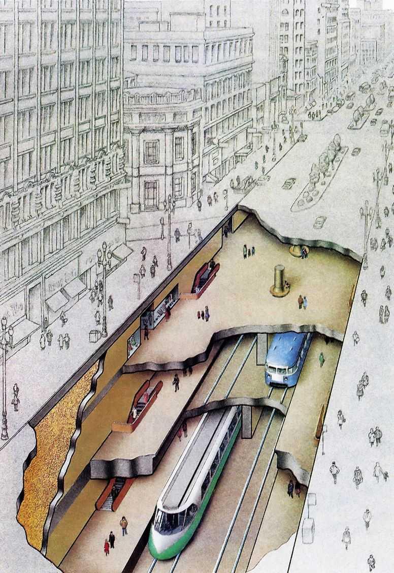 пересадочный узел метрополитена, Сан-Франциско.