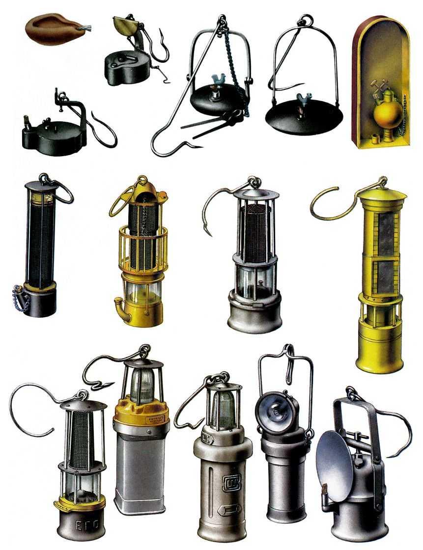 Cветильники шахтные: 1 - светильник античный; 2 - масляная лампа