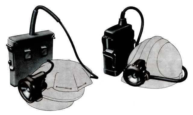 Cветильники шахтные: 16 - головной светильник ЛАГИ; 17 - головной герметичный светильник СГГ-5.