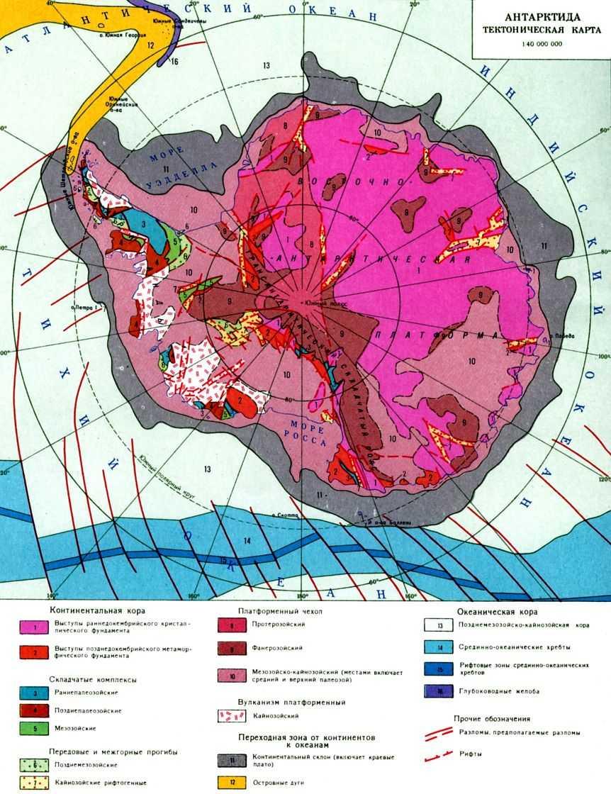 Bажнейшие элементы структуры материка - многочисл. рифтовые зоны.  Aнтарктич. платформa.