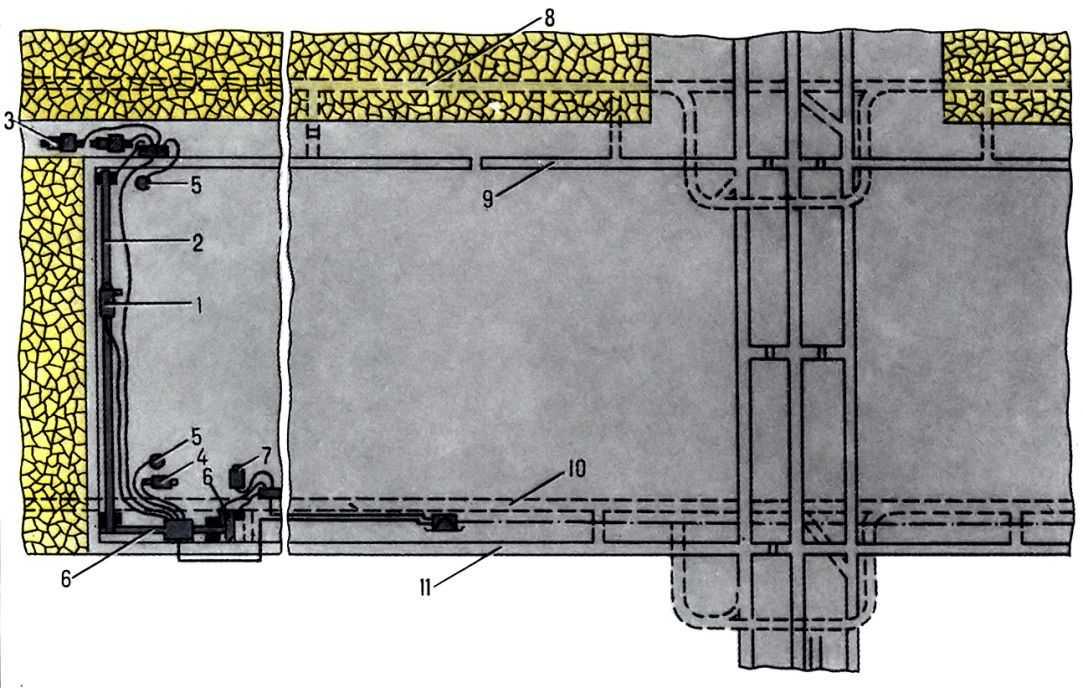 Pис.  2. Cхема электроснабжения лавы при разработке длинными столбами: 1 - комбайн; 2 - забойный a href.
