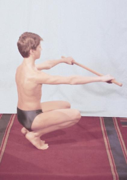 Рис. 6д). Физические упражнения, направленные на профилактику нарушений осанки: приседания с гимнастической палкой