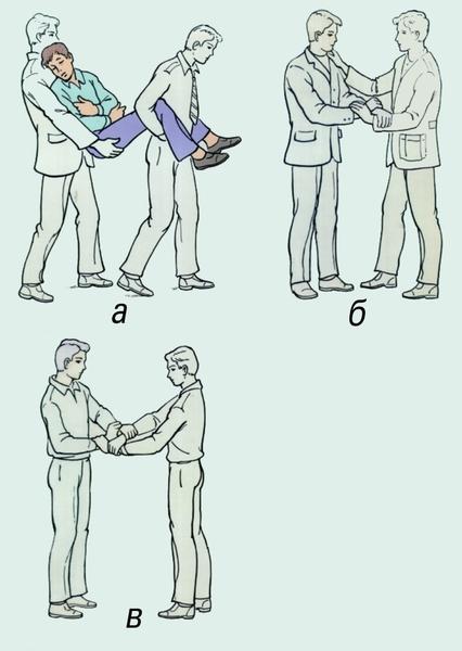 Рис. 3. Переноска пострадавшего двумя носильщиками: а — способ «друг за другом»; б — «замок» из трех рук; в — «замок» из четырех рук.