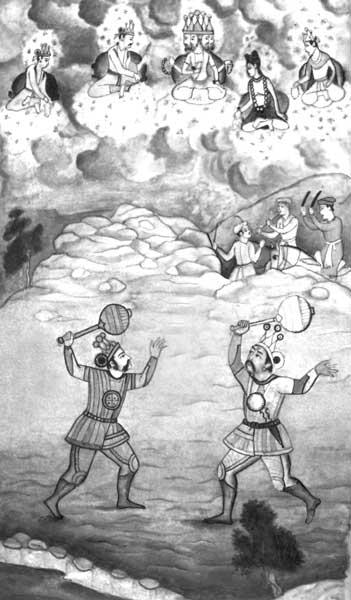 Схватка Бхимы с Дурьодханой, за которой наблюдают Индра и Яма.