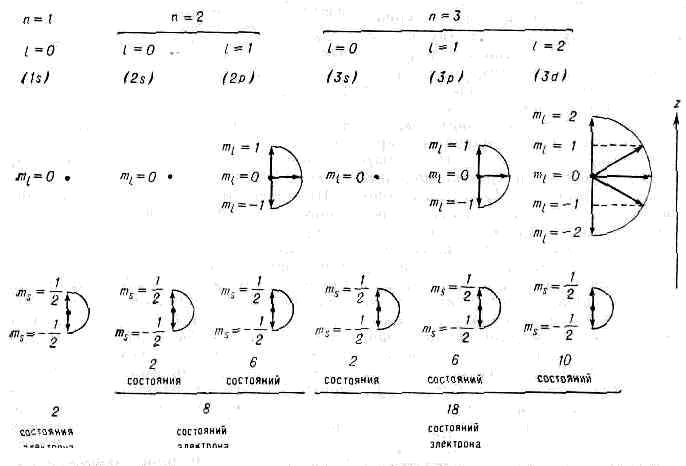 Возможные состояния атома