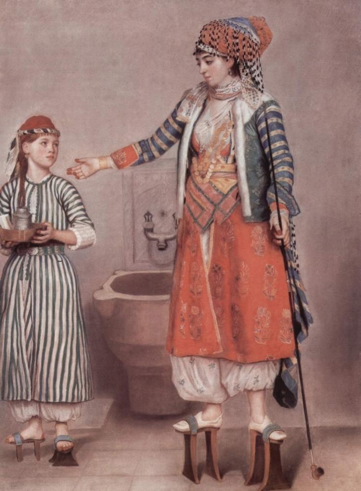 Turkische Dame mit Dienerin