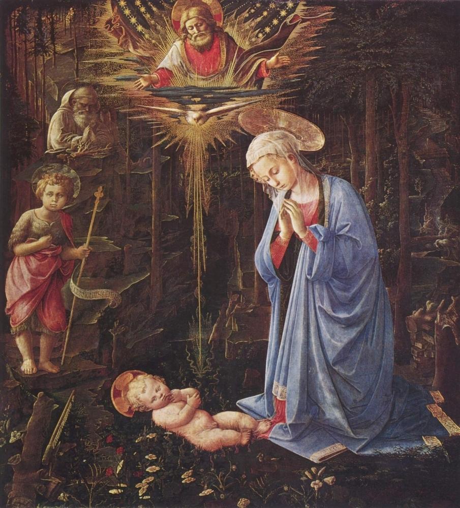 Anbetung des Kindes und der Hl. Bernhard
