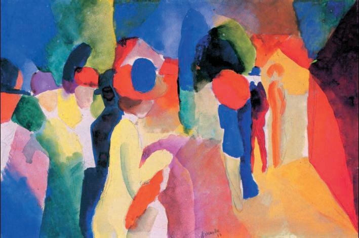 О. Маке. «В жёлтом жакете». Акварель. 1913г. Ульмский музей