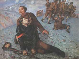 К. С. Петров-Водкин. «Смерть комиссара». 1928 г. Государственный Русский музей. Санкт-Петербург