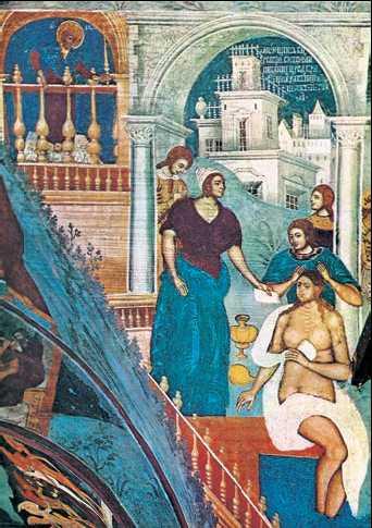 «Давид и Вирсавия». Фреска церкви Иоанна Предтечи в Ярославле. 17в. Фрагмент