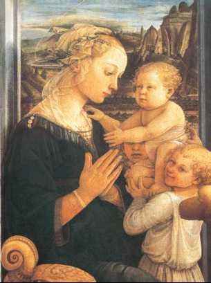 Фра Ф. Липпи. «Мадонна с Младенцем и двумя ангелами». Ок. 1465г. Галерея Уффици. Флоренция