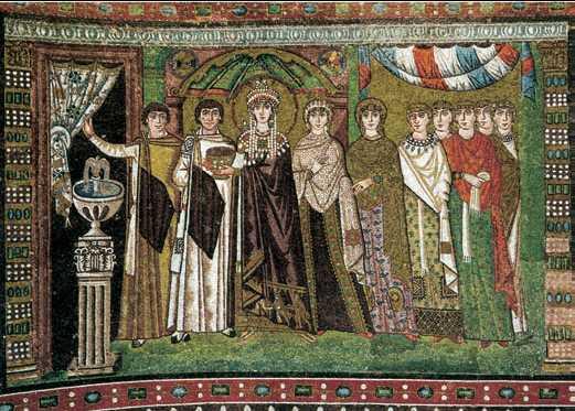«Императрица Феодора со свитой». Мозаика. 6в. Церковь Сан-Витале. Равенна