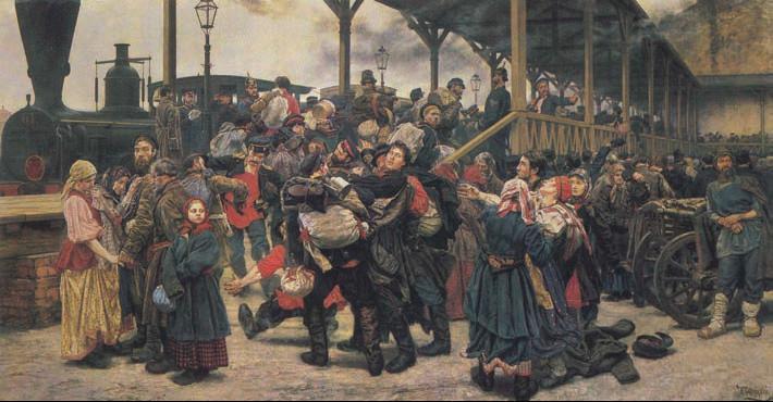 К. А. Савицкий. «На войну». 1888�г. Государственный Русский музей. Санкт-Петербург