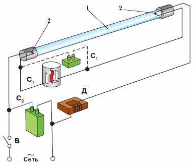 схемы включения ламп дневного света