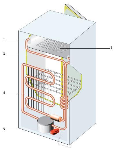 4 - конденсатор; 5 - компрессор с электроприводом.  Схема компрессионного холодильника.  1 - морозильная камера; 2...