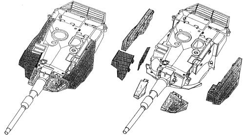 Схема установки дополнительных броневых элементов на башню