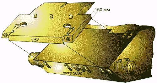 """Т-55 """" Схема установки дополнительной брони на верхнем лобовом листе корпуса при модернизации.  Т-55.  """"который получил..."""