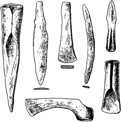 Бронзовые (медные) орудия и оружие.