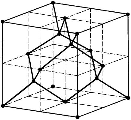 Элементарная ячейка кристаллической решётки алмаза.