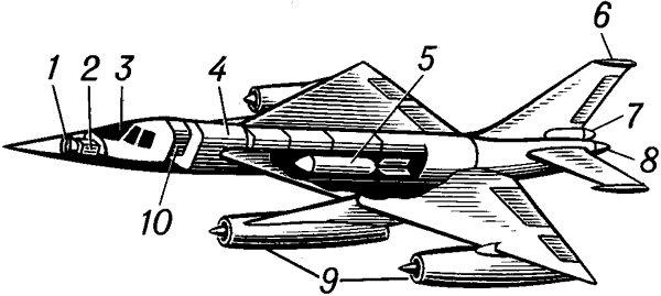 Компоновочная схема современного бомбардировщика.