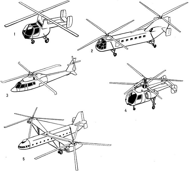 Основные схемы вертолётов.
