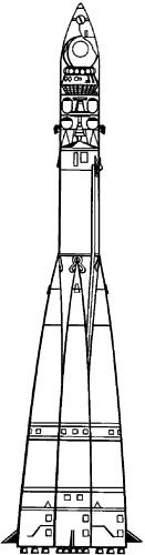 3-ступенчатая ракета-носитель «Восток» для вывода в космос космического корабля «Восток».