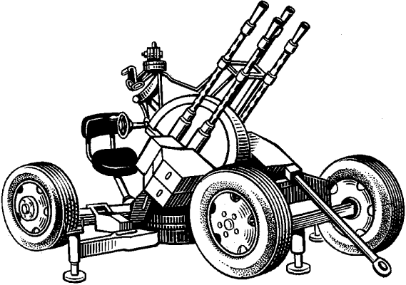 Счетверённая зенитная пулемётная установка ЗПУ-4 (Россия).