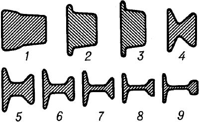 Сечение рельса при его последовательной прокатке в 9проходов.
