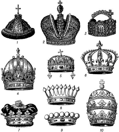 Головные уборы монархов.