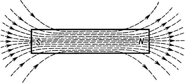 Магнитные полюсы намагниченного стального стержня и магнитные силовые линии.