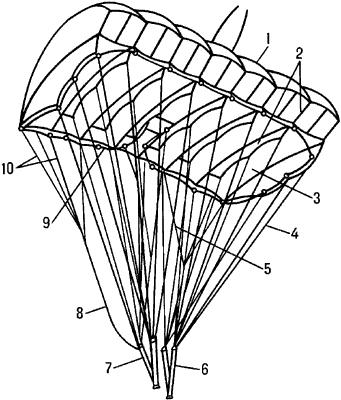 Общий вид раскрытого парашюта ПО-9 серии2.