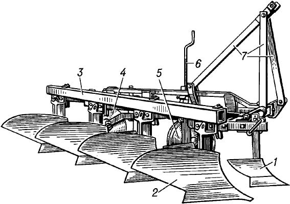 Навесной тракторный плуг.