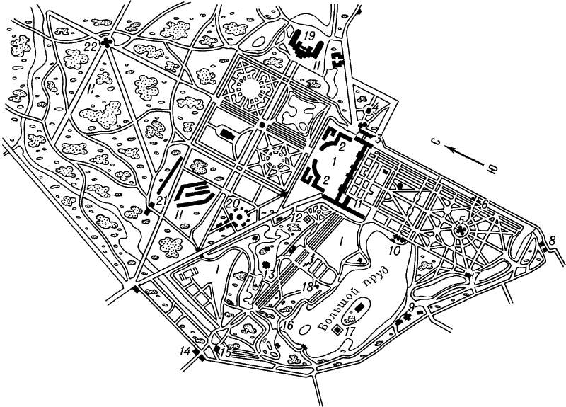 Пушкин. Схематический план дворцово-паркового комплекса.