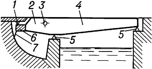 Схема раскрывающегося моста с жёстким прикреплением противовеса.
