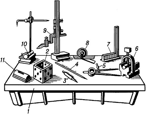 Инструменты и приспособления, применяемые при разметке.