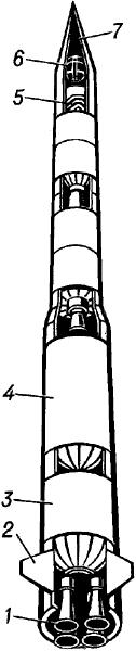 Составная (трёхступенчатая) ракета.