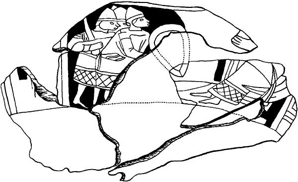 Рославль. Фрагмент деревянной чаши начала XIIIв. с изображением воинов.