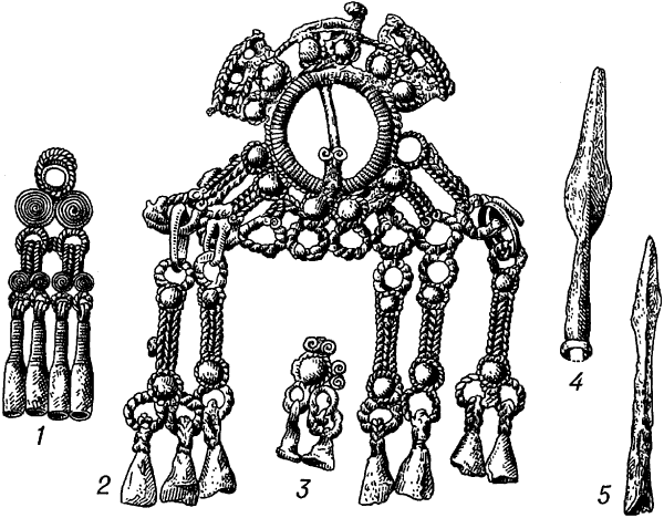 Рязанские могильники. Металлические украшения и оружие.