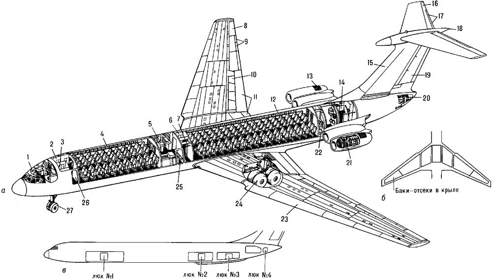Пассажирский самолёт Ил-62 (СССР).