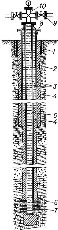 Конструкция эксплуатационной скважины на нефть и газ.