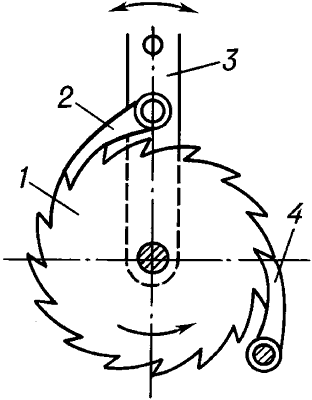 Схема храпового механизма.