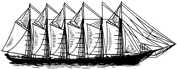 Шестимачтовая парусная шхуна «Вайоминг» водоизмещением 8,5тыс.т (Финляндия).