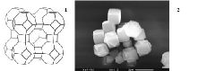 Цеолит NaA (структура типа LTA, размер пор 0,41 нм): 1- структура, 2- кристаллы