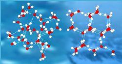 Рис.2 - Водородные связи в жидкой и твердой воде