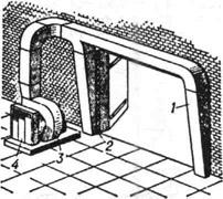 Установка для двусторонней боковой воздушной завесы: 1 - воздуховод; 2 - воздуховыпускная щель; 3 - вентилятор с электродвигателем; 4 - воздухоподогреватель