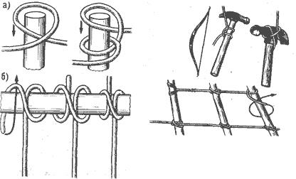 Рис. 48. Выбленочный узел а — первый способ вязки; б — второй способ вязки