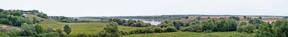 Панорама берега р. Оки в районе с. Новоселки Рыбновского района Рязанской области