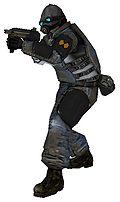 Солдат, вооруженный автоматом MP-7